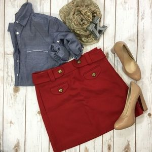 J. Crew red wool belted mini skirt